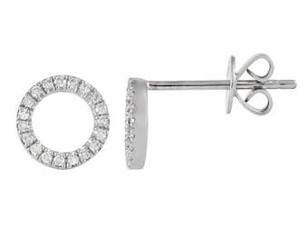 Diamond Pave Circle Studs, Tiny Diamond Stud Earrings