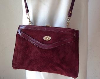 Vintage leather purse//Leather Bag//Burgundy leather bag//leather purse//