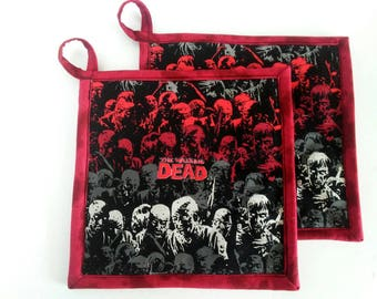 The walking dead Pot holders, The walking dead Hot pads, TWD, Zombie Pot holders, Quilted Pot Holders, Walker pot holders