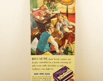 Vintage Cadburys Advert, Milk Tray, British Chocolate Maker, 1950s Newspaper Advert