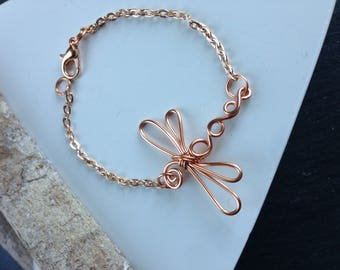 Mini dragonfly bracelet, copper anklet, handmade wire jewellery, wire wrap bracelet, summer fashion, nature jewelry, holiday wear