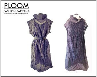 Scrunch Dress.  Digital PDF pattern, easy, womans ladies dress,  fashion dress, modern, high neckline