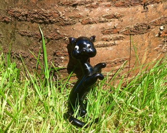 Vintage cat figurine / glass cat / glass figurine / retro cat / kitsch cat / porcelain cat / china cat / cat ornament / black cat figurine /