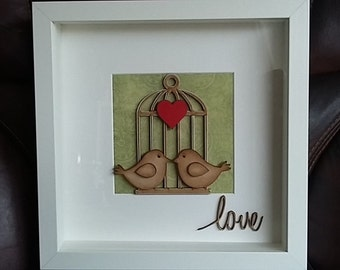 3D Box Frame With Love Birds, Cage and Heart
