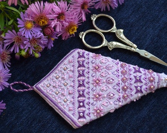 Lilac Scissor Case embroidered decorative stitching and beads