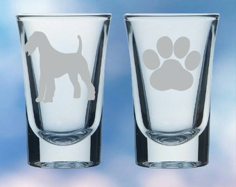 Set of 2 Irish Terrier and paw shot glasses - gift - permanently etched