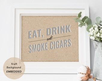 Cigar Bar Sign, Printable Wedding Cigar Bar Sign, Instant Download, PDF, Printable, kraft sign, reception ideas, DIY, wedding ideas, rustic
