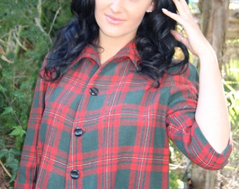 red and green tartan 50's crop jacket, button through.