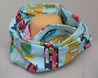 Retro Cars and Campers Hidden Pocket Infinity Scarf - Retro Print Scarf - Traveler's Scarf - Unique Gift - Vintage Lover's Gift
