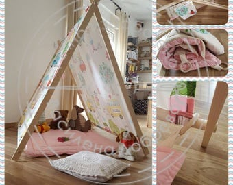 """Children's tent """"IRRY"""" with carpet, foldable tent, tipi, teepee, a-frame teepee,play camping tent,aframe Kids Tent, camping tent, Tent cabin"""