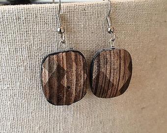 Brown and Tan Stripe Geometric Earrings