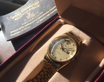 Vintage Jules Jurgensen Vintage Gold Tone Stainless Steel 10 Stine Diamond Like New Men's Watch with Original Box