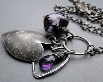 Silver necklace with lampwork bead, heart necklace, lampwork bead necklace