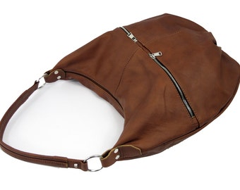 BROWN LEATHER BAG,Cognac Leather  Bag , Leather Hobo bag, hobo bags, hobo bag,  Brown leather hobo, leather hobo bags, Everyday Leather Bag