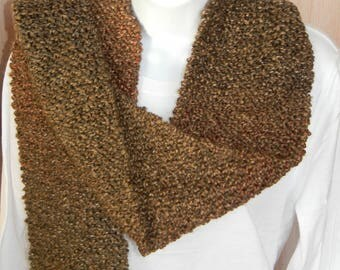 Long Hand Knitted Scarf-Brown, Barley