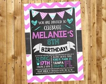 Girls Birthday Party Invitations, Birthday Invitations for girls, Girls Birthday Invite, Birthday Invitations for teens. 5x7 or 4x6 Digital