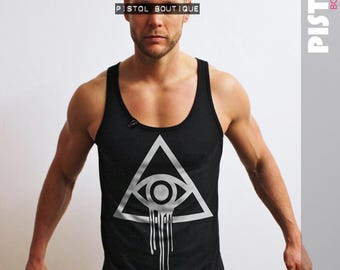 "Pistol Boutique Mens ""ILLUMINATI EYE"" Black fashion Vest / Singlet"