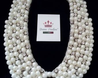 Majorcan pearls collar necklace in white with Rhinestones and Silver 925 clasp