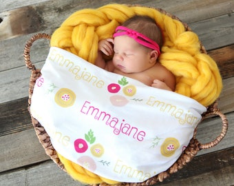 Personalized Swaddle Blanket - Baby Blossoms – Personalized Swaddle Blanket / Baby Name Blanket