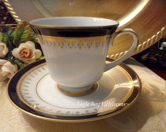Noritake Grand MONARCH Legacy Footed Teacup  Saucer 3595 Cobalt Blue and Gold Trim