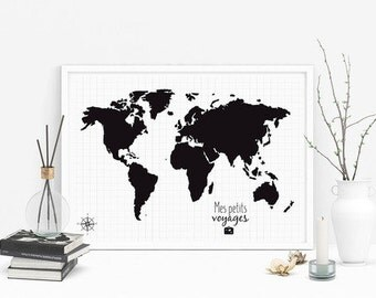 Customize world map poster, world map, world