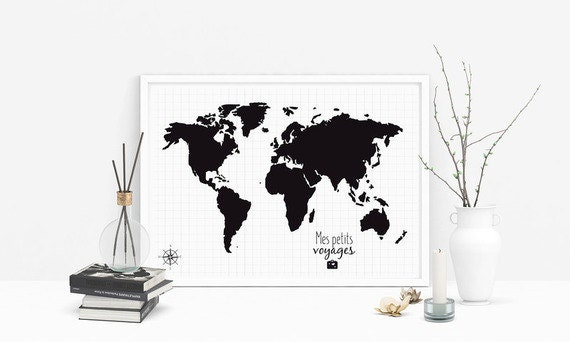 affiche carte du monde personnaliser map monde world. Black Bedroom Furniture Sets. Home Design Ideas