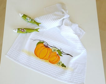 Pumpkins Kitchen Towel / Dish Towel (Hand-painted)