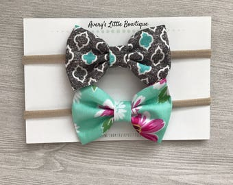 Set of two baby bows - Mint Hair Bows - Headbands for Girls - Hair Clips or Headband - Mint Hair Accessories - spring hairbands