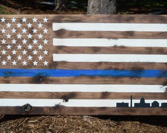 Wooden American Flag Thin Blue Line