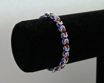 Chainmaille Bracelet, Red and Purple, Byzantine Weave, Chainmaille Jewelry