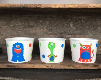 Monster Party, Little Monster, 1st Birthday Party, 12 oz. Snack Cups, Sets of 8, 10, 12, and 15