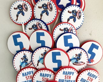 Captain America Cupcake Toppers/Captain America Birthday Party/Captain America cake toppers