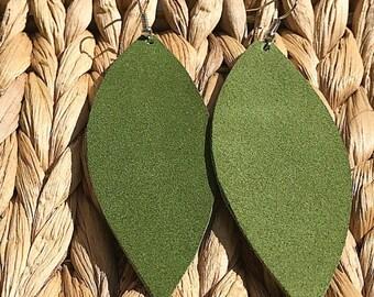Olive Green Suede Petals