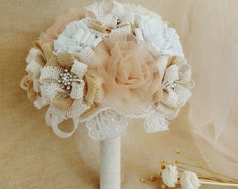Burlap Bouquet,Vintage Wedding Bouquet,Ivory Burlap flowers, Bouquet with Organza and Chiffon,Burlap and Lace Bouquet for Rustic Wedding.