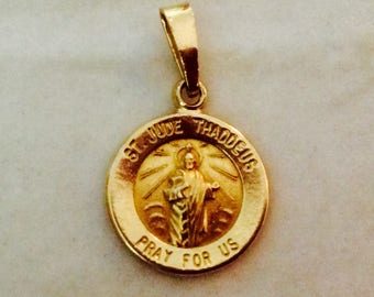 14K Yellow Gold St. Jude Thaddeus Medallion