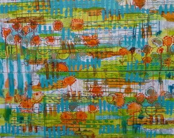 "ORIGINAL Abstract Acrylic Painting Extra LARGE GROUPING of Two Turquoise Blue and Orange Handmade 48 x 36 ""Field of Dreams"""