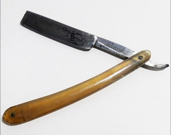 Antique Straight Edge Razor Sheffield Steel and Horn Casing