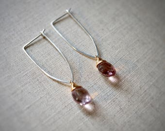 Handmade sterling silver geo earring with wire wrapped pink quartz