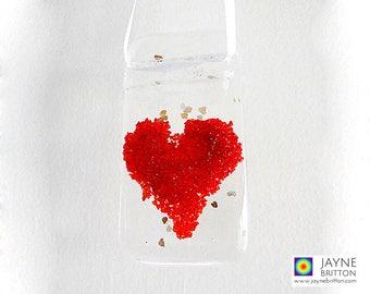 Red heart glittering light catcher, fused glass suncatcher, window art sun catcher, red present, red decor, token gift