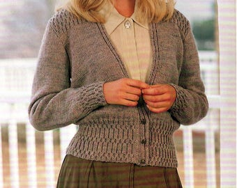 PDF knitting pattern, women's ladies cardigan, double knitting, cable design, instant download, digital download