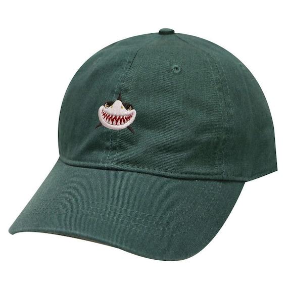 Capsule Design Shark Face Cotton Baseball Dad Cap Hunter Green