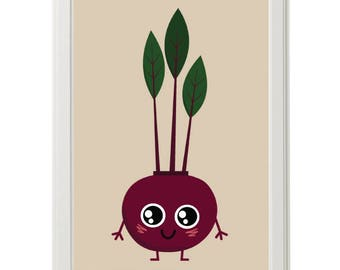 Happy vegetable print for healthy kids A4