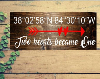 Wedding signs,longitude and latitude sign, wood signs, anniversary gift, wedding gift, Valentine's day gift