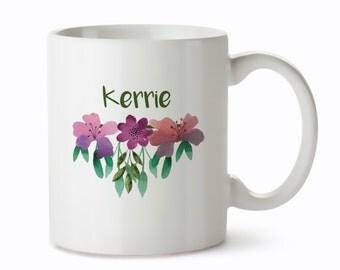 Custom Coffee Mug - Customized Floral Mug - Name Mugs - Coffee Mugs Unique - Personalized Mugs - Customised Coffee Cups