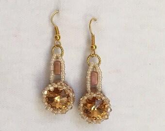Gold and Mauve Rivoli Earrings
