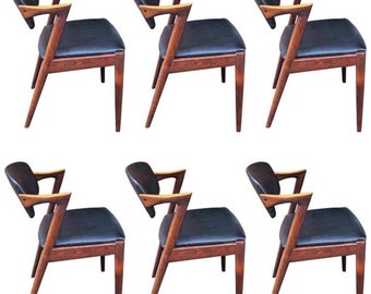 Kai Kristiansen chairs model 42, dining room chairs in rosewood, custom upholstery (6 available)