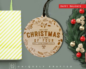 Presonalized Engraved Wooden Christmas Ornament, First Christmas as a Family of Four, Family personalized Ornament