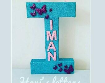 Kids personalised name letter* glitter name letter* glitter letter* butterflies letter* personalised gift* custom letter* nursery decor