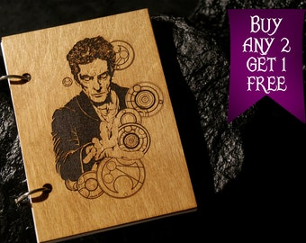 12th Doctor wooden notebook / Doctor Who notebook / sketchbook / diary / Doctor Who journal / travelbook / Doctor Who gift