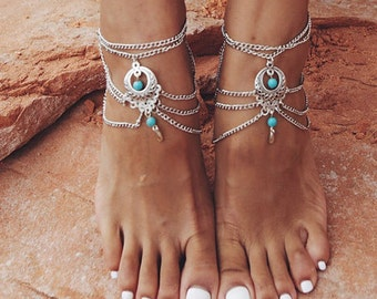 Oriental vibes in silver and turquoise boho anklet / / / Bohemian gypsy ethnic anklet